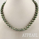 dyed 15.7 inches 8-9mm green color round pearl necklace