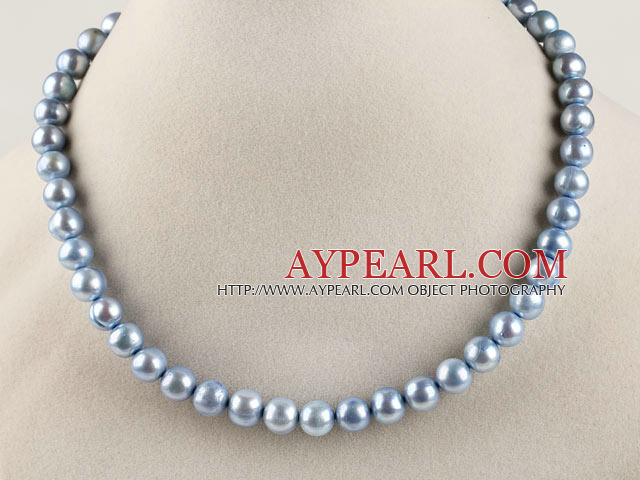 15.7 inches 9-10mm dyed blue round pearl necklace