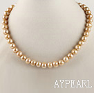 admirably 15.7 inches 8-9mm champagne color round pearl necklace