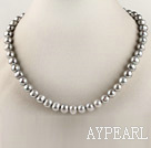 admirably 15.7 inches 8-9mm dyed gray round pearl necklace