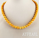dyed yellow 15.7 inches 9-10mm pearl necklace