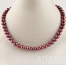 15.7 inches 8-9mm dyed wine red color round pearl necklace