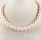 Wholesale good luster 16.5 inches 12-13mm natural white color round pearl necklace