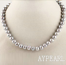 admirably 15.7 inches 9-10mm gray round pearl necklace