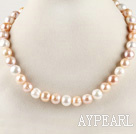 favourite 16.5  inches 11-12mm natural colors round pearl necklace