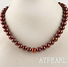 15.7 inches 9-10mm chocolate color pearl necklace