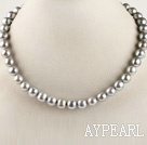 admirably 15.7 inches 10-11mm gray round pearl necklace