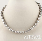 exquisite 15.7 inches 8-9mm gray color baroque pearl necklace