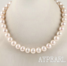 Wholesale dazzling A grade 16.5inches 12-13mm white round pearl necklace