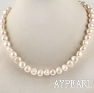 favourite 15.7  inches 9-10mm natural white potato shape pearl necklace