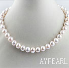favourite 15.7  inches 11-12mm natural white round pearl necklace