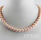 favourite 15.7  inches 9-10mm pink color round pearl necklace