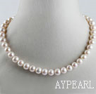 favourite 15.7  inches 9-10mm natural milk color round pearl necklace
