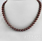 trendy  15.7 inches 8-9mm chocalate color pearl necklace