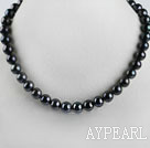 stunning 15.7 inches 10-11mm black color round pearl necklace