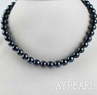 A grade stunning 15.7 inches 10-11mm black color round pearl necklace