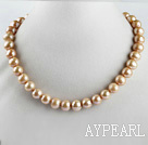 Wholesale admirably 15.7 inches 11-13mm gold color round pearl necklace