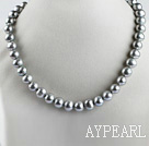flashy 15.7 inches 11-13mm gray round pearl necklace