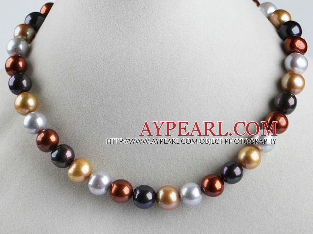 exquisite  15.7 inches 11-13mm multi color pearl necklace