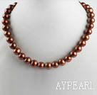 Wholesale exquisite  15.7 inches 11-13mm dark brown color pearl necklace