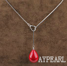 18.1 inches wonderful drop shape wine red seashell pendant necklace