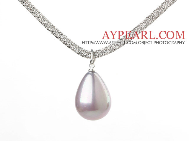 18.1 inches wonderful drop shape purple seashell pendant necklace