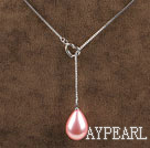 18.1 inches wonderful bright pink drop shape seashell pendant necklace