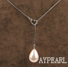 18.1 inches wonderful drop milk color shape seashell pendant necklace
