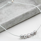 Simple Design Gray FW Pearl Necklace with White Leather