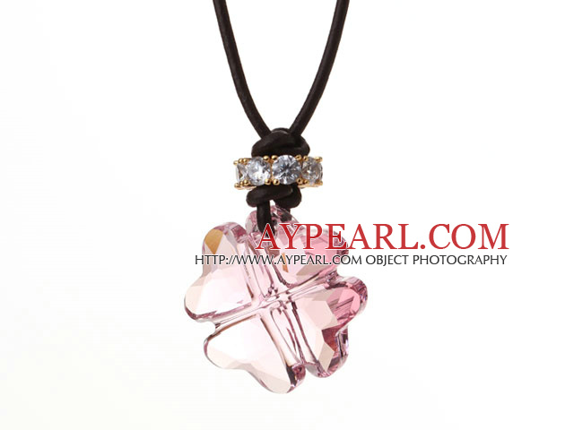 Summer New Released Pink Austrian Crystal Four Leaf Clover Pendant Necklace with Dark Brown Leather