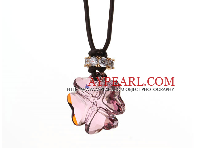 Summer New Released Light Purple Austrian Crystal Four Leaf Clover Pendant Necklace with Dark Brown Leather
