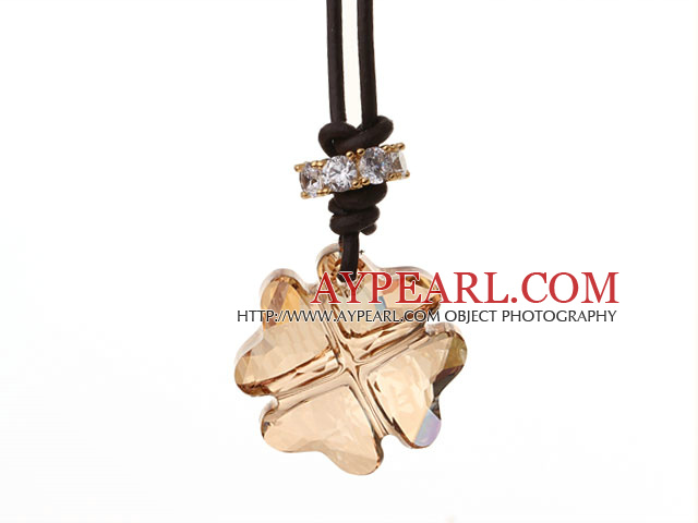 Summer New Released Yellow Austrian Crystal Four Leaf Clover Pendant Necklace with Dark Brown Leather