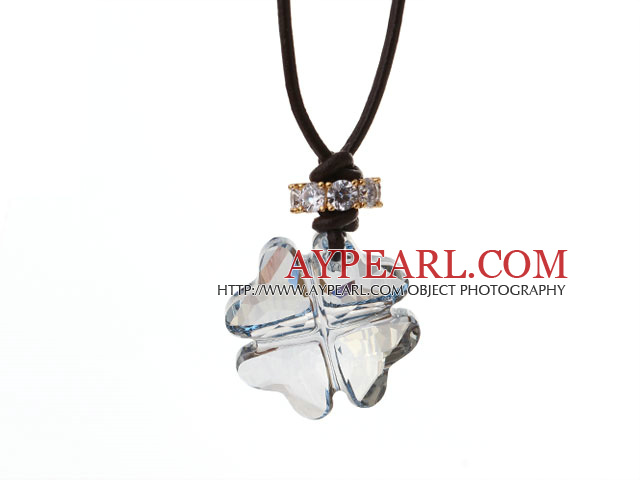 Summer New Released Light Blue Austrian Crystal Four Leaf Clover Pendant Necklace with Dark Brown Leather