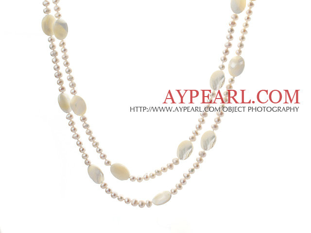 fashion long style 47.2 inches white pearl and square shape white lip shell necklace