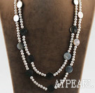 fashion long style 47.2 inches white pearl and round shape black lip shell necklace