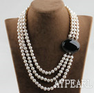 sparkly three strand 8-9mm white pearl necklace with black gem box clasp