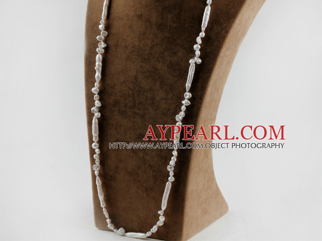 long style 31.5 inches lovely fresh water white biwa pearl necklace