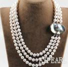 Wholesale sparkly three strand white pearl necklace with big ingot clasp