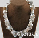 16.9 inches white petal shape reborn pearl necklace with moonlight clasp