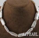 16.9 inches white oblong shape reborn pearl necklace with moonlight clasp