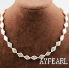 Rhombus Shape White Rebirth Pearl Necklace with Heart Toggle Clasp