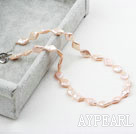 Rhombus Shape Pink Rebirth Pearl Necklace with Heart Toggle Clasp