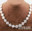 Irregular Shape White Pearl Necklace with Heart Toggle Clasp