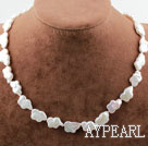 Butterfly Shape White Rebirth Pearl Necklace with Heart Toggle Clasp