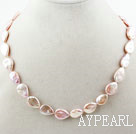 Teardrop Shape Pink Rebirth Pearl Necklace with Heart Toggle Clasp