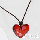 Classic Design Red Color Heart Shape Austrian Crystal Pendant Necklace