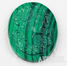 Oval Shape Natural Malachite Carved Pendant