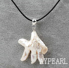 Classic Design Hand Shape Rebirth Pearl Pendant Necklace with Black Leather