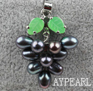 Black Freshwater Pearl Tree Shape Pendant (No Chain)