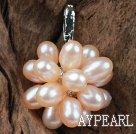 Natural Pink Freshwater Pearl Flower Shape Pendant (No Chain)